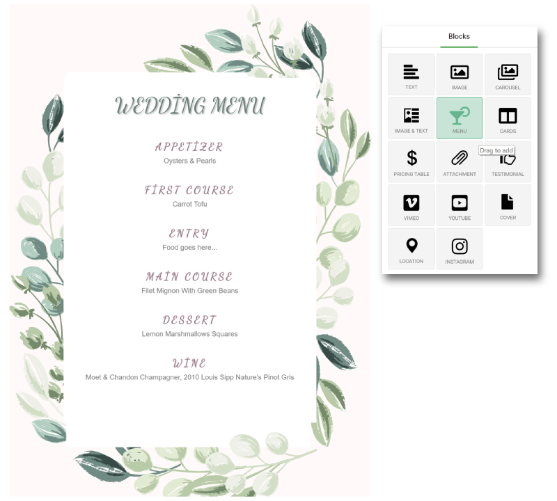 a dinner menu, created from one of the Ivently templates